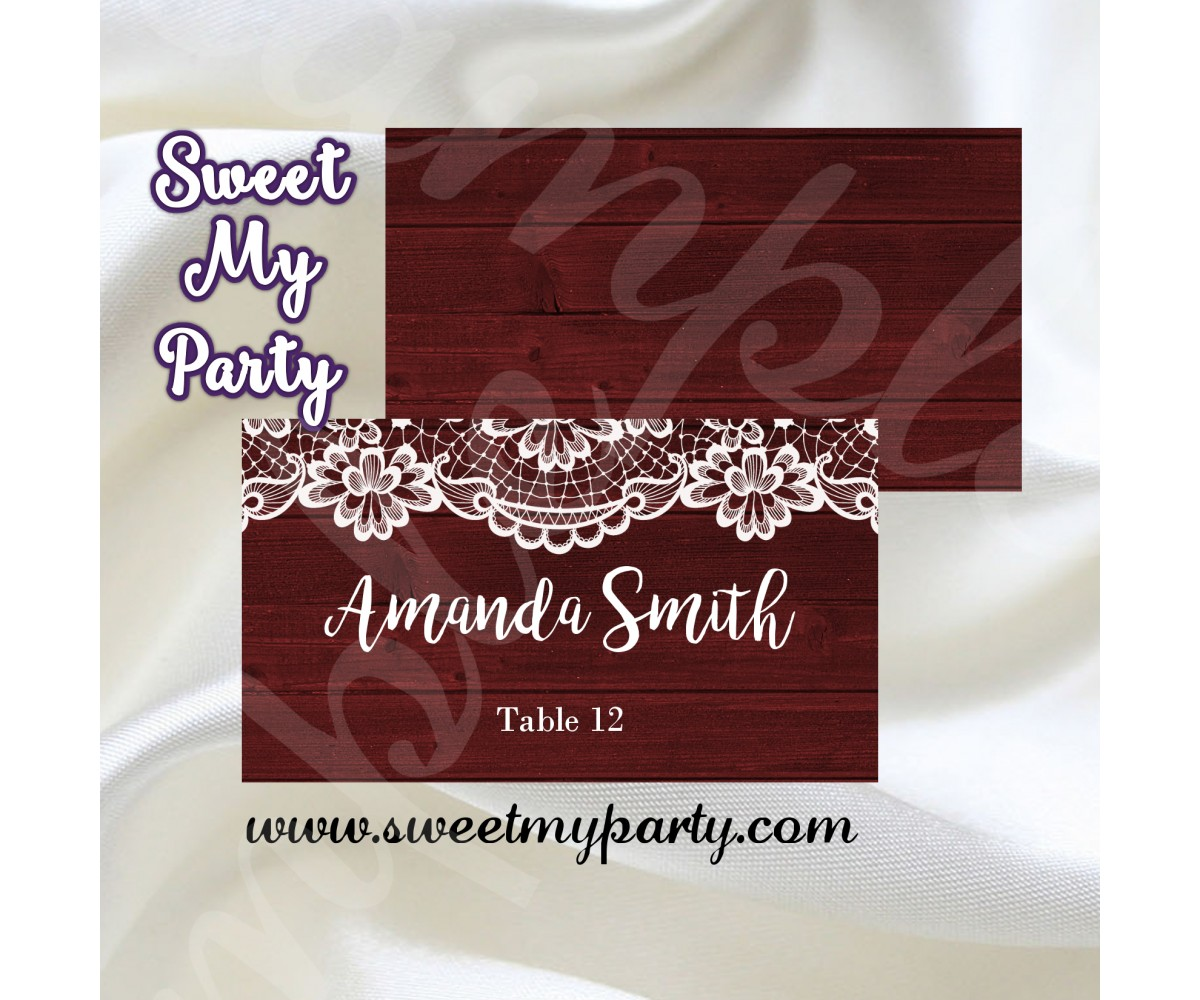 Rustic Wedding Place card,Lace wood wedding seating card,(017w)